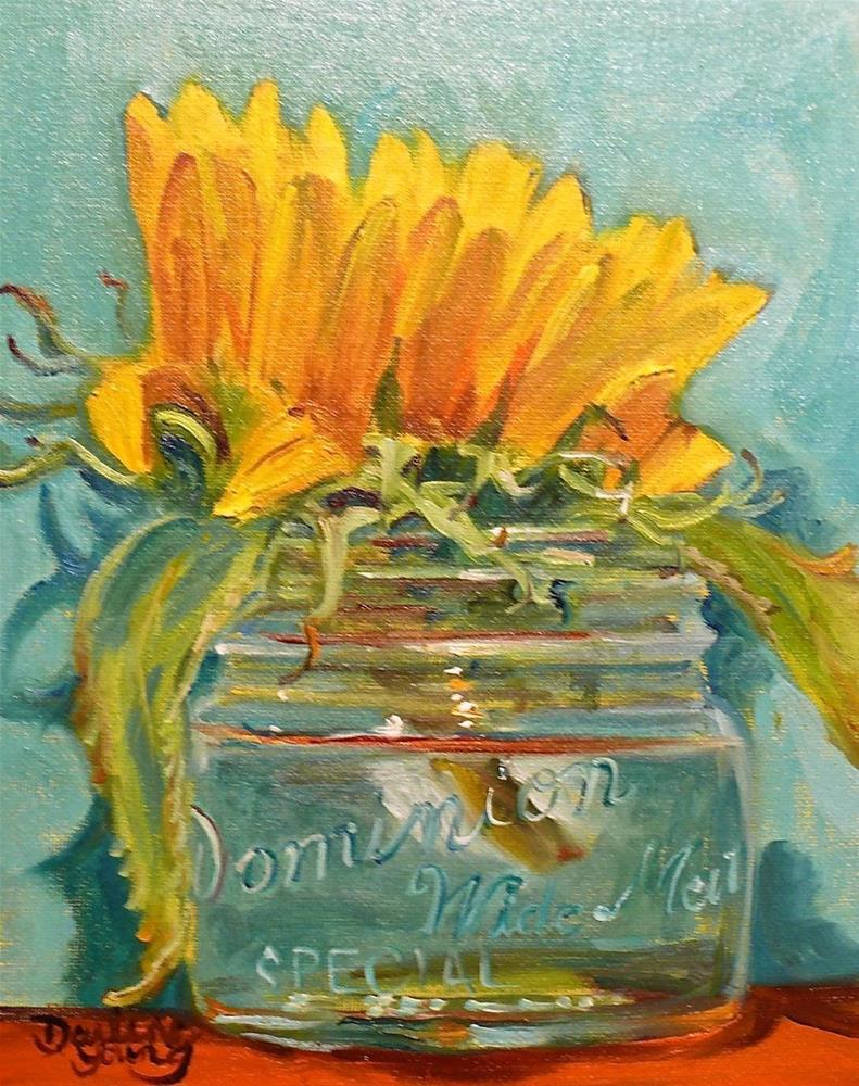 """679 Sunflower in a Widemouth Jar on Turquoise"" original fine art by Darlene Young"