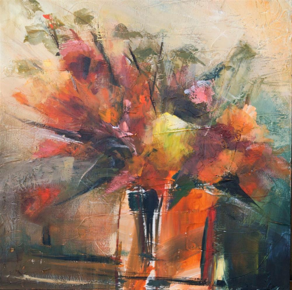 """KMA2961 Orange Zest by Colorado Contemporary artist Kit Hevron Mahoney (12x12 acrylic, abstract flor"" original fine art by Kit Hevron Mahoney"