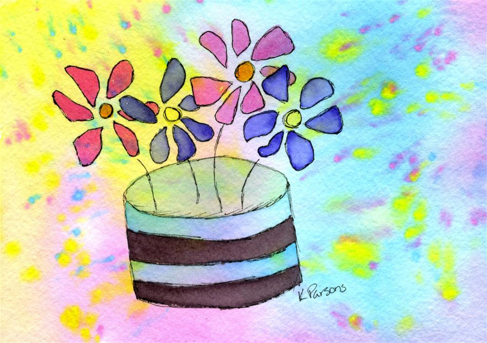 """Flowers in a Hat Box"" original fine art by Kali Parsons"
