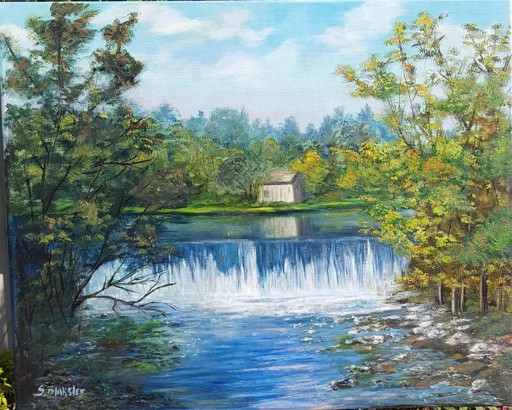 """Falls at Cedarburg"" original fine art by Sissy Blakslee"