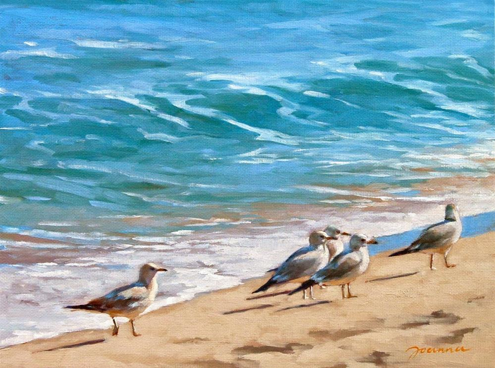 """Gulls Group"" original fine art by Joanna Bingham"