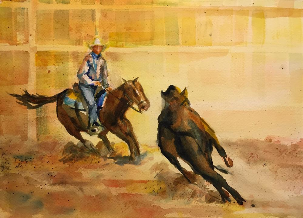 """Cattle Cutting"" original fine art by jean krueger"