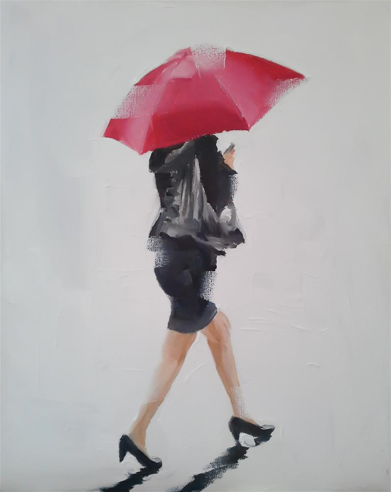 """The Lady with Red Umbrella"" original fine art by James Coates"