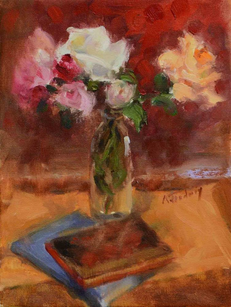 """Roses in Bottle & Books"" original fine art by alicia tredway"