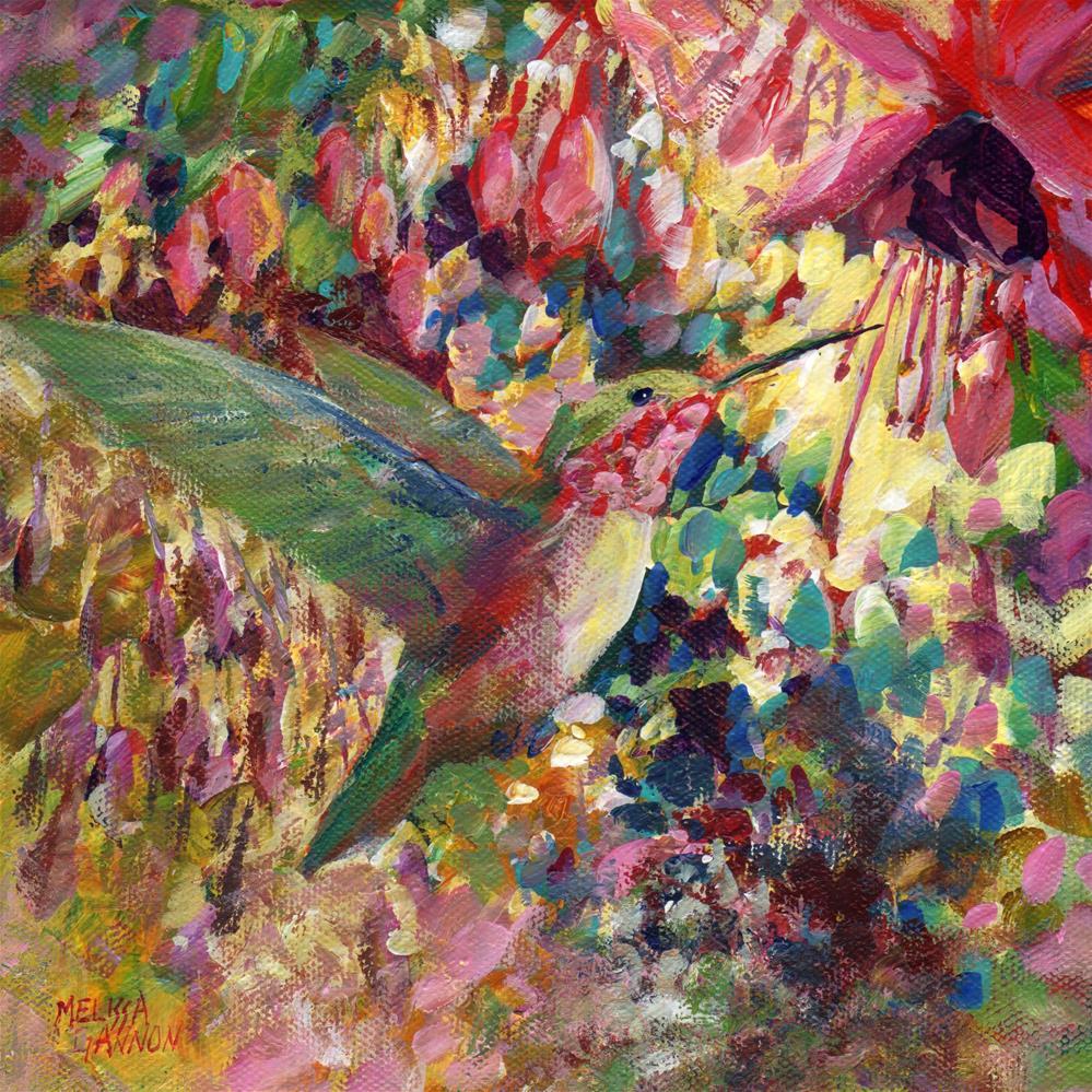 """Hummer Pause"" original fine art by Melissa Gannon"