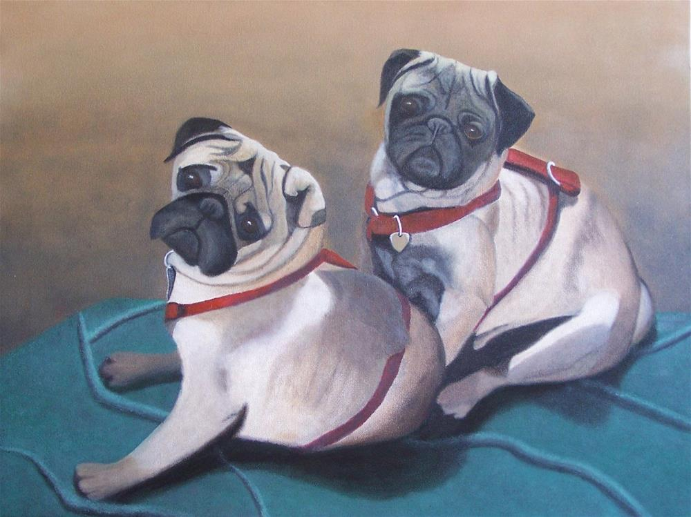 """Two pugs on a blanket"" original fine art by John Marcum"