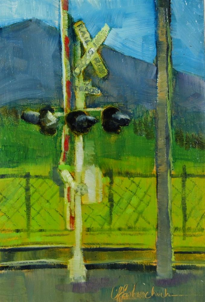 """RR Crossing"" original fine art by Christine Holzschuh"