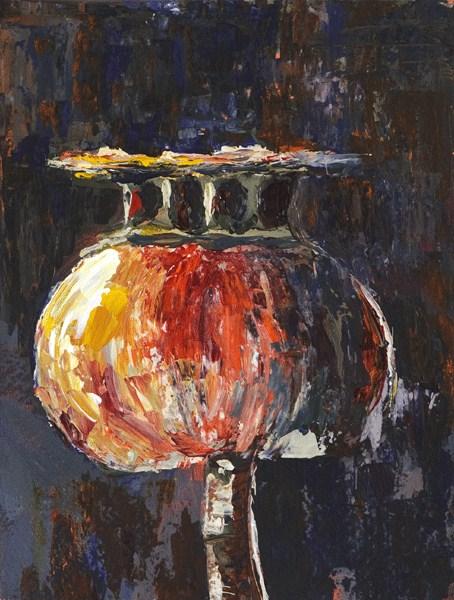 """Poppy Pod in Red and Gold"" original fine art by Anna Vreman"