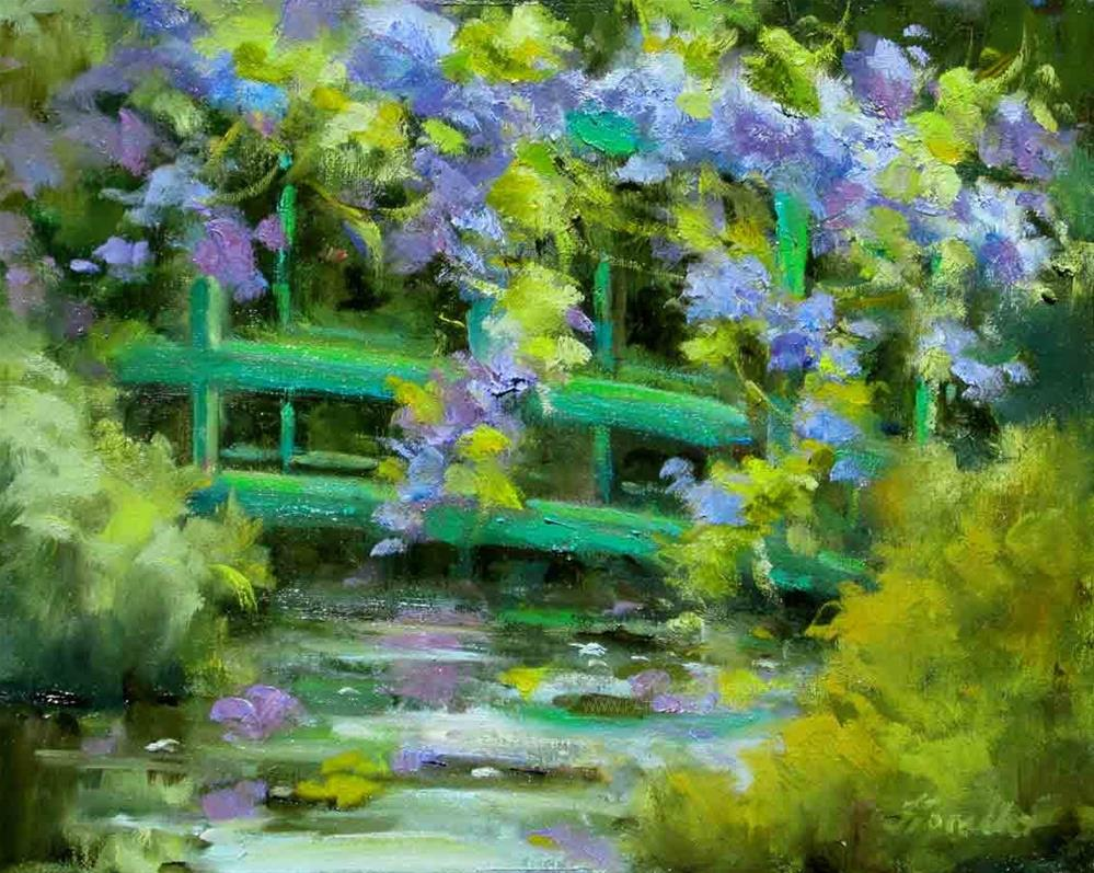 """Wisteria Bridge, Monet's Garden"" original fine art by Pat Fiorello"