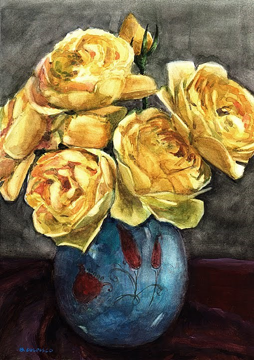 """Watercolor: Graham Thomas Roses (& review of Art on Palm #artfestival)"" original fine art by Belinda Del Pesco"