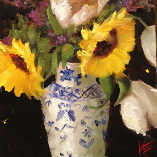 """Sunflowers in Blue & White Vase"" original fine art by Krista Eaton"