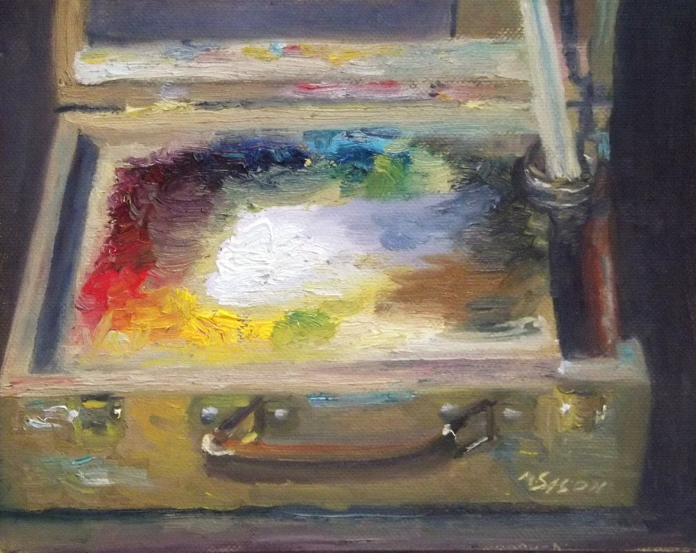 """My Paint box"" original fine art by Michael Sason"