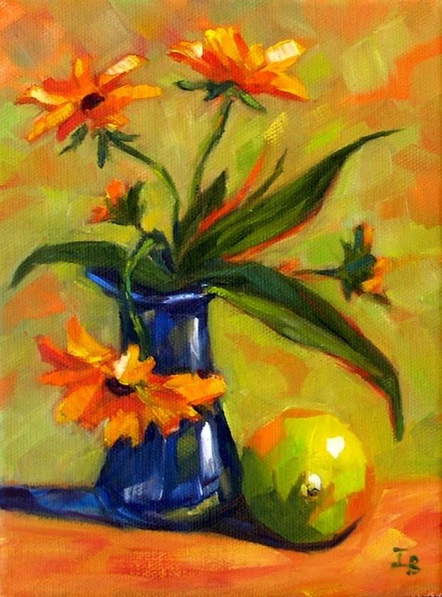 """Last Flowers of October"" original fine art by Irina Beskina"
