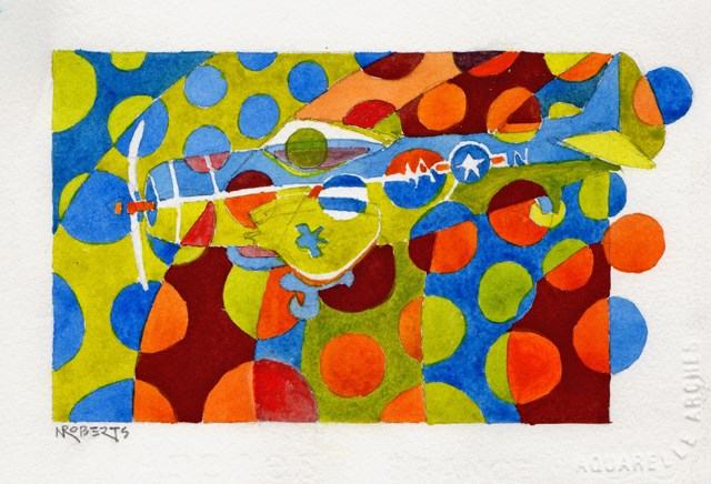 """Polka Dot Airplane"" original fine art by Nancy Roberts"