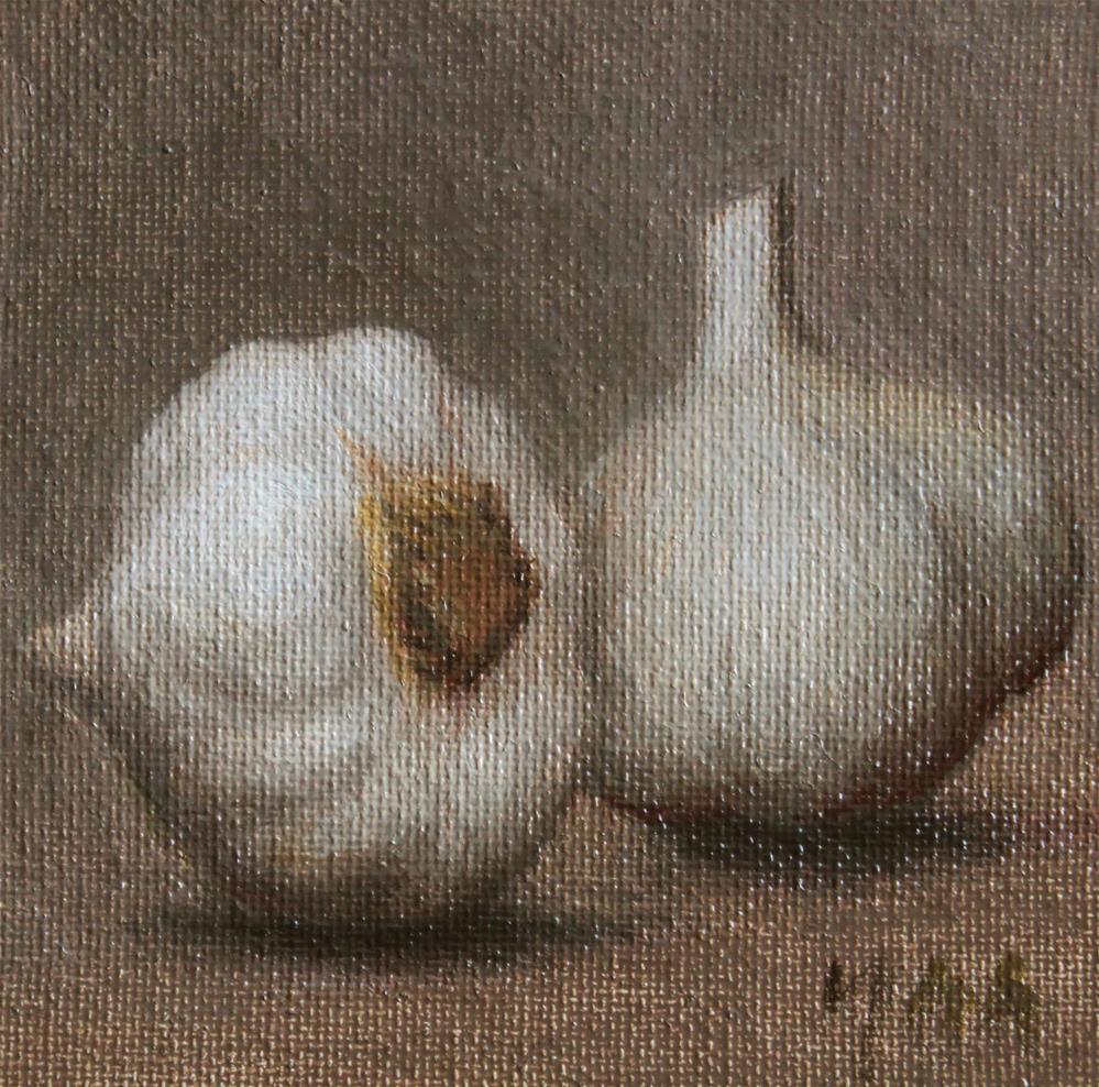 """""""Two Garlic"""" original fine art by Yuehua He"""