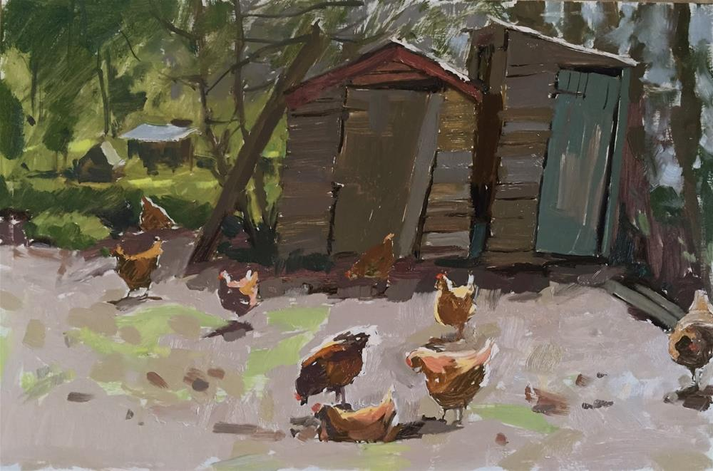 """Leaning sheds and allotment hens"" original fine art by Haidee-Jo Summers ROI"