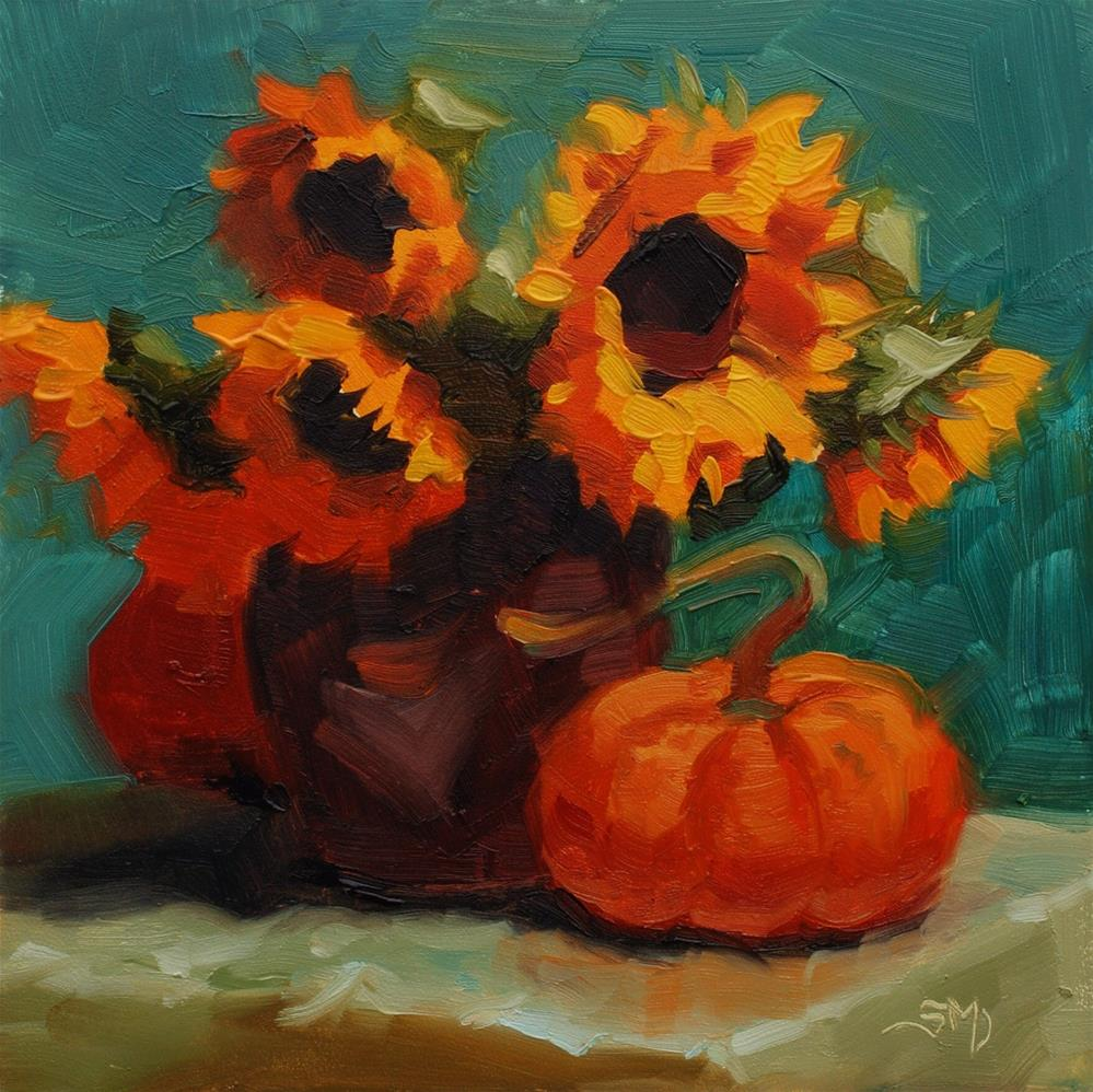 """No. 508 Sunflowers and Pumpkin #2"" original fine art by Susan McManamen"