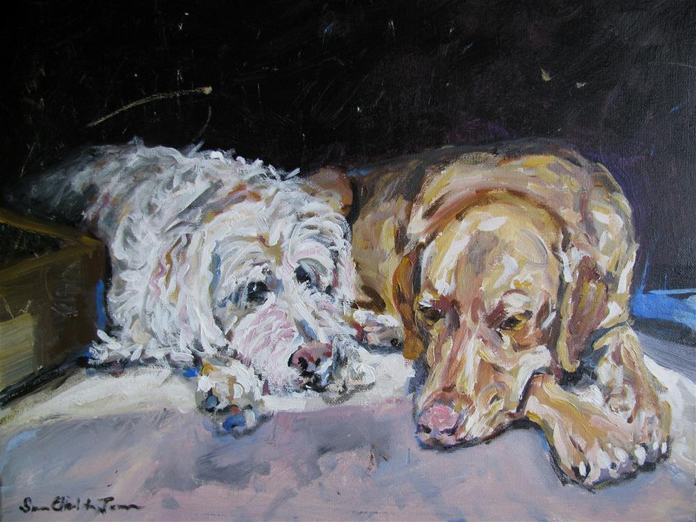 """Guiness and Mac"" original fine art by Susan Elizabeth Jones"