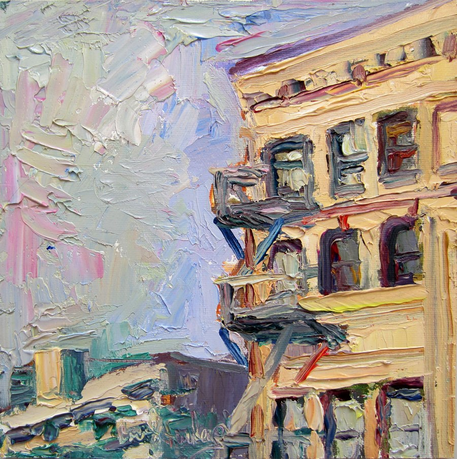 """Pan Am Building from Corner of 3rd and Broadway"" original fine art by Carol Steinberg"