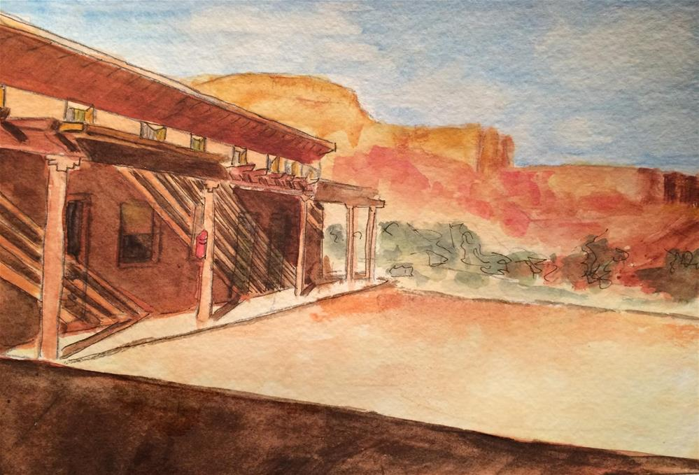 """New Mexico Sunset watercolor / ink 6 x 8"" original fine art by Nancy Beard"