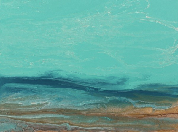 """Abstract Seascape, Ocean Coastal Living Decor Whispers on The Water III by Colorado Contemporary A"" original fine art by Kimberly Conrad"