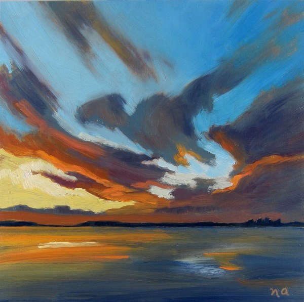 """Burning Sky, Waskesiu"" original fine art by Nicki Ault"