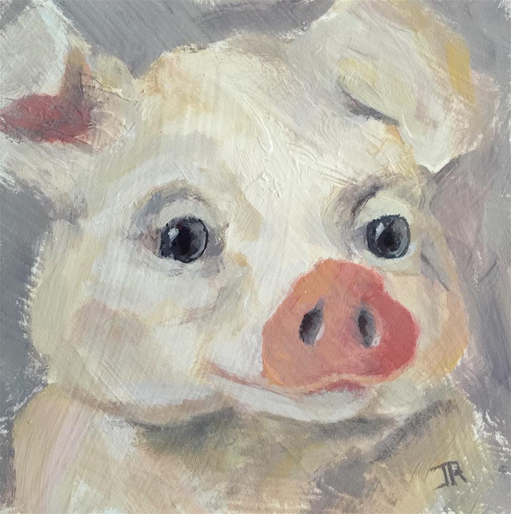 """""""Little Piggy 3"""" original fine art by June Rollins"""