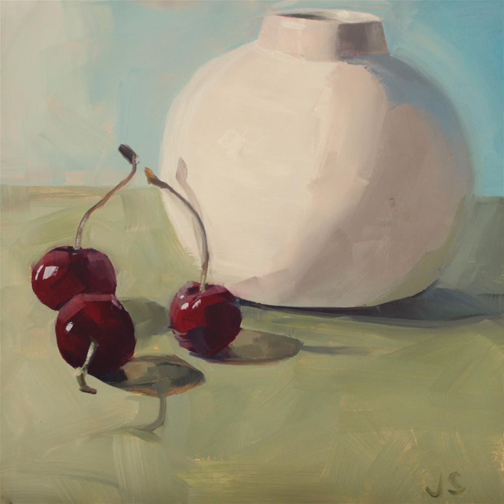 """White Vase and Cherries"" original fine art by Jamie Stevens"