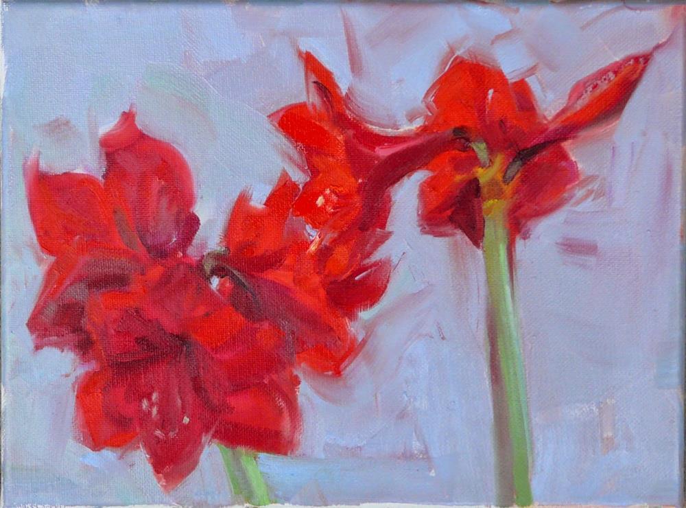 """Amaryllis Plants,still life,oil on canvas,9x12,price$300"" original fine art by Joy Olney"