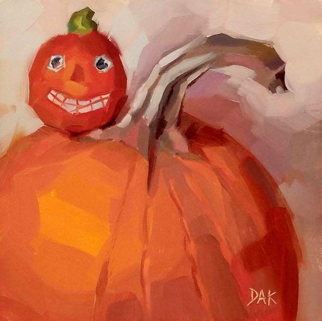 """""""Piggyback Pumpkins"""" original fine art by Deborah Ann Kirkeeide"""