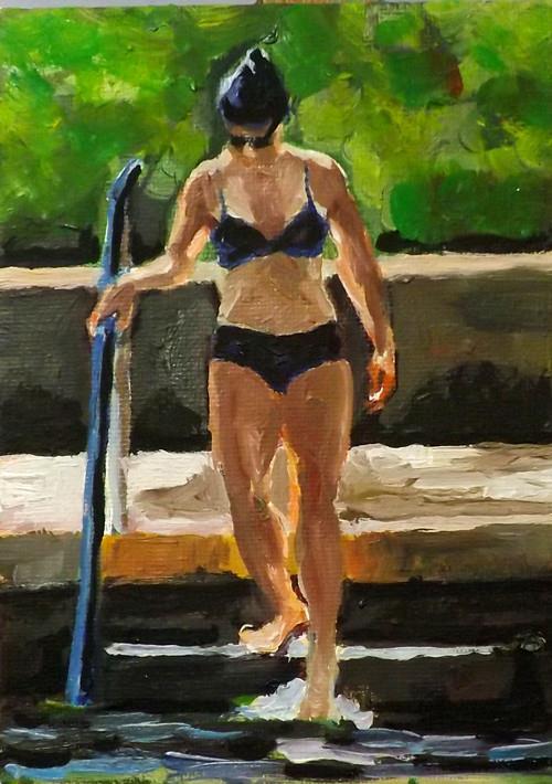 """Swimming,A10"" original fine art by Run-      Zhang Zane"