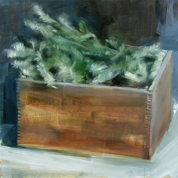 """Pine Branches in Wooden Crate (no.73)"" original fine art by Michael William"