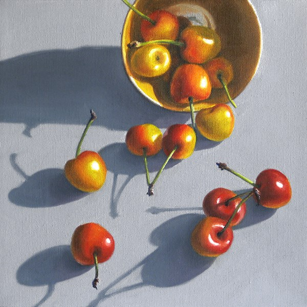 """Spilled Rainier Cherries"" original fine art by Nance Danforth"