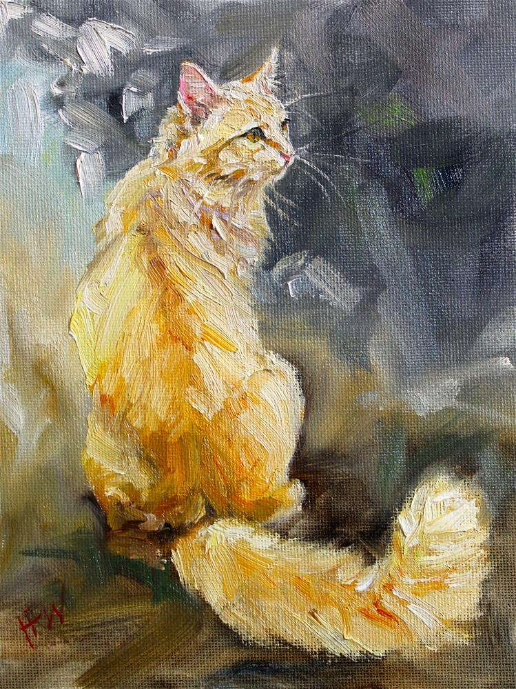 """Orange and Fluffy"" original fine art by H.F. Wallen"