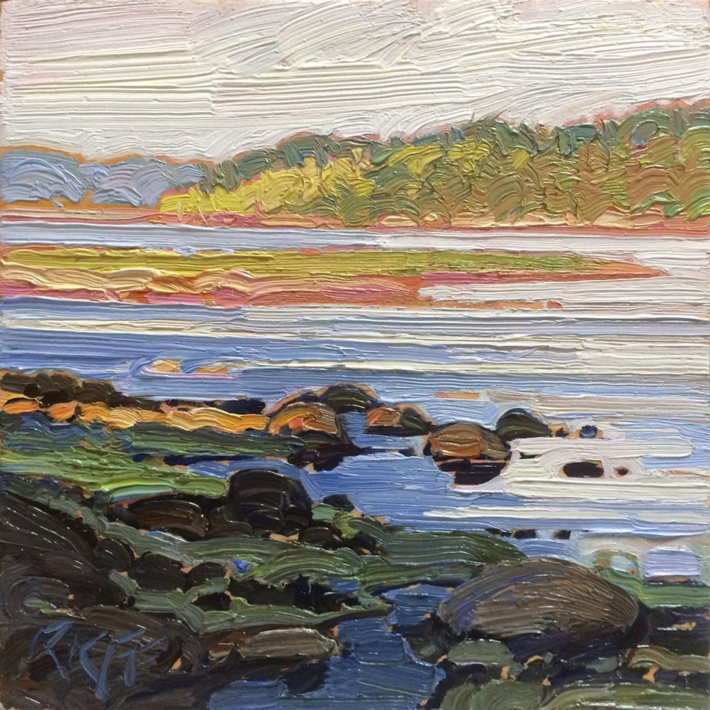 """Ocean Light: 6x6 oil on panel"" original fine art by Ken Faulks"