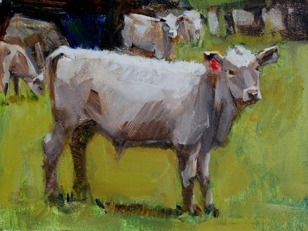 """Calf with a Red Earring"" original fine art by Gretchen Hancock"