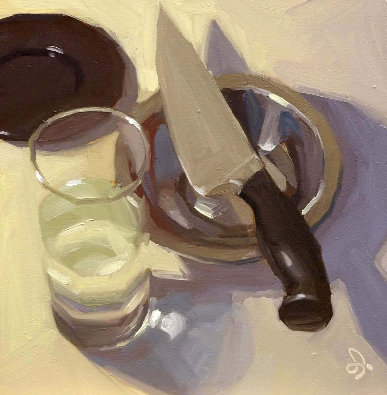 """Knife and water"" original fine art by Istvan Schaller"