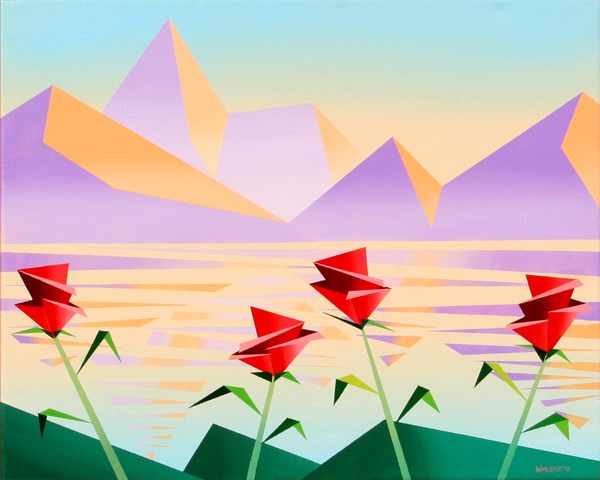 """Mark Webster - Abstract Purple Mountains with Flowers #1 - Geometric Cubist Acrylic Painting"" original fine art by Mark Webster"