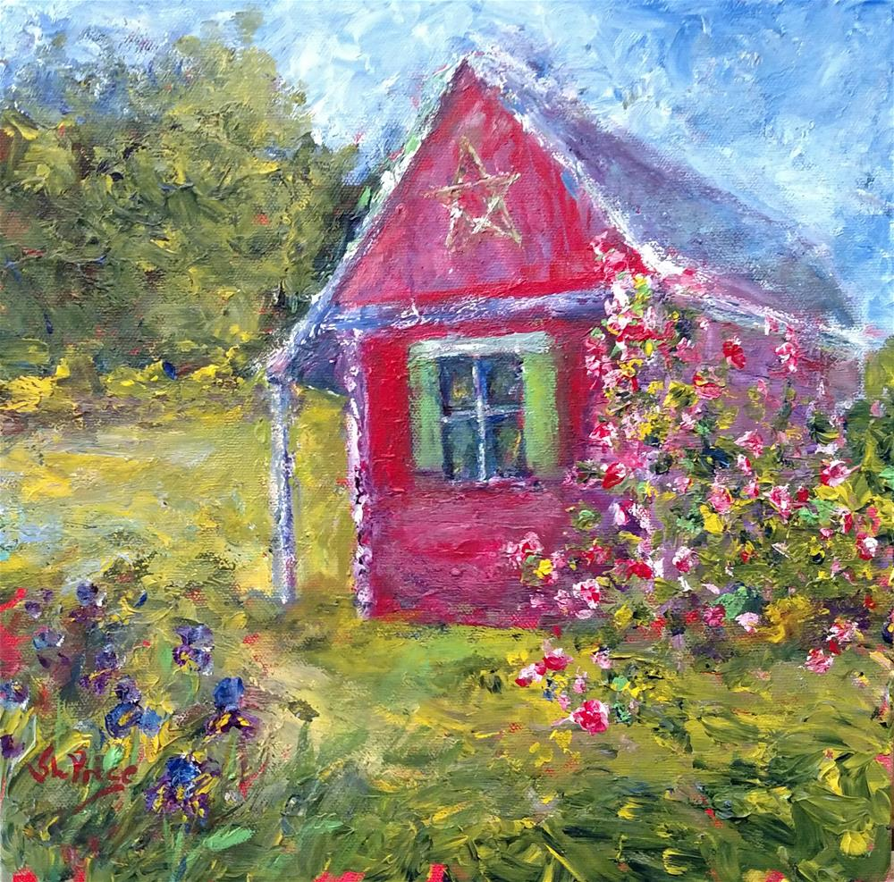 """The Rose Shed"" original fine art by S. Lynne Price"