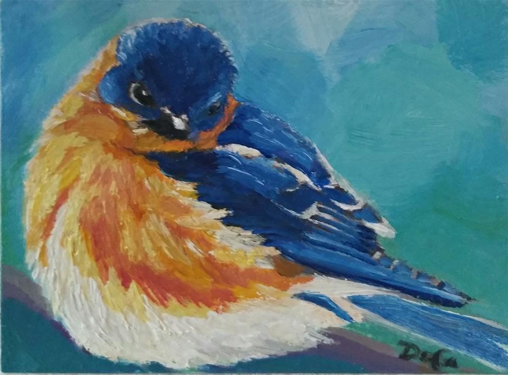 """Watchful Mr. Bluebird"" original fine art by Dana C"