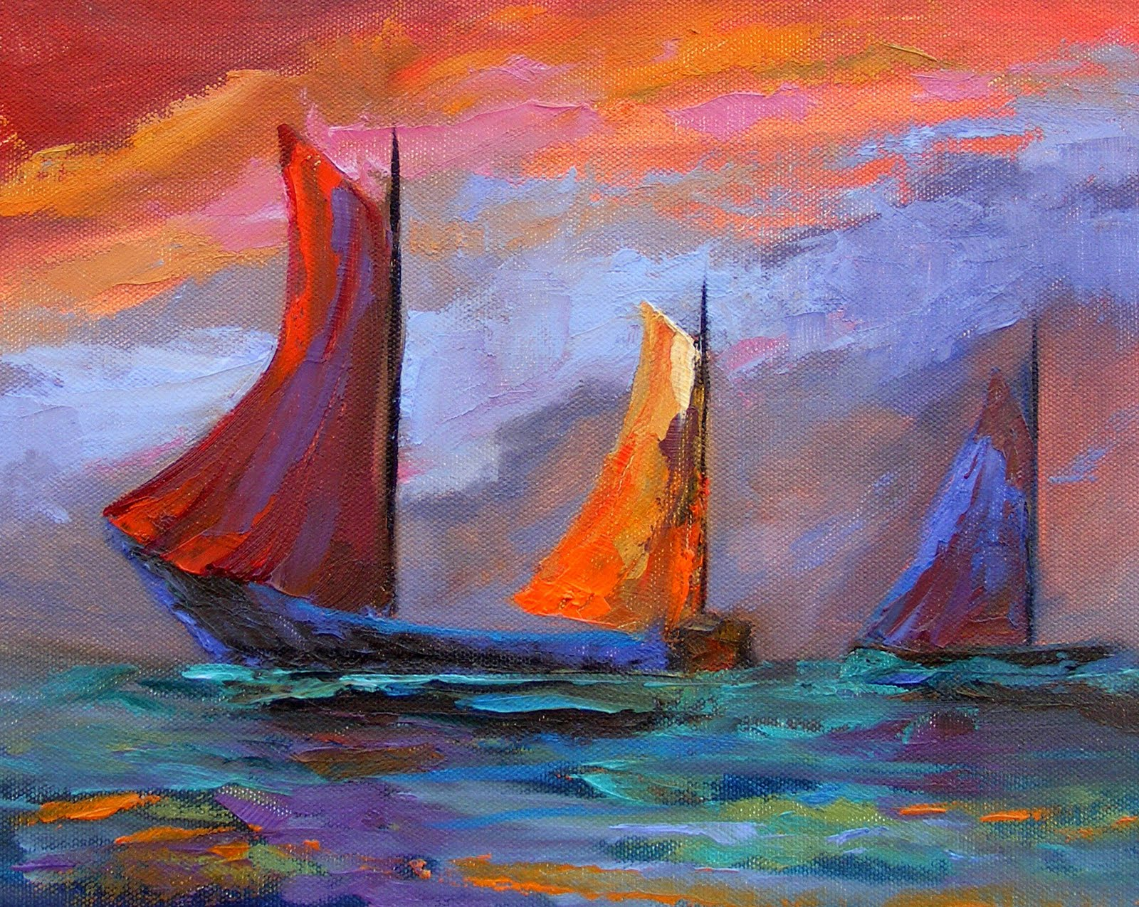 """Abstract Boats, Abstract"" original fine art by Diana Delander"