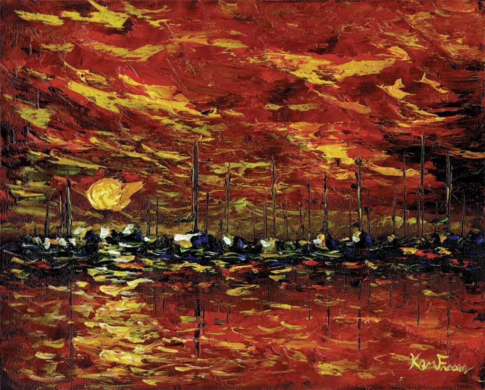 """""""Red Harbor"""" original fine art by Ken Fraser"""