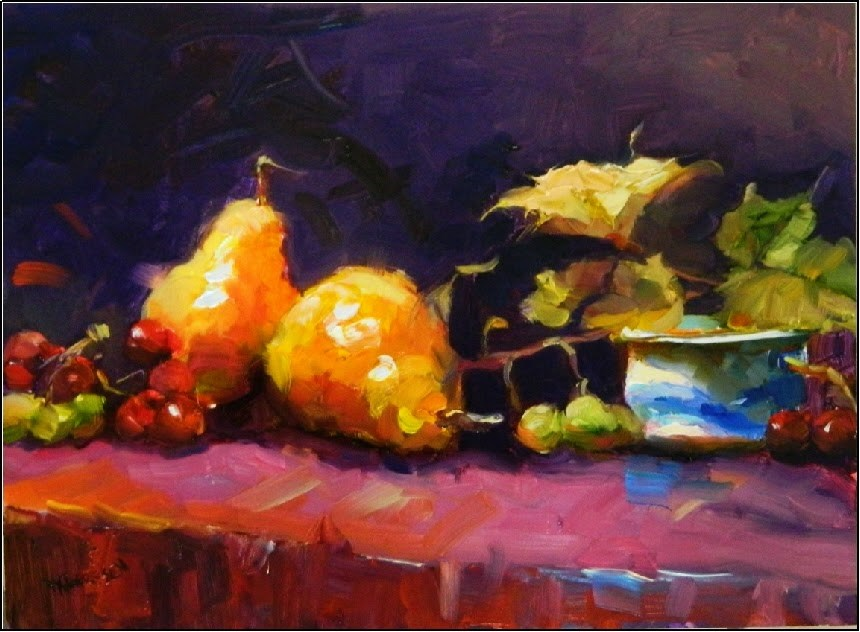 """""""Bartlett Pears with Grapes, 12x16, oil on board"""" original fine art by Maryanne Jacobsen"""