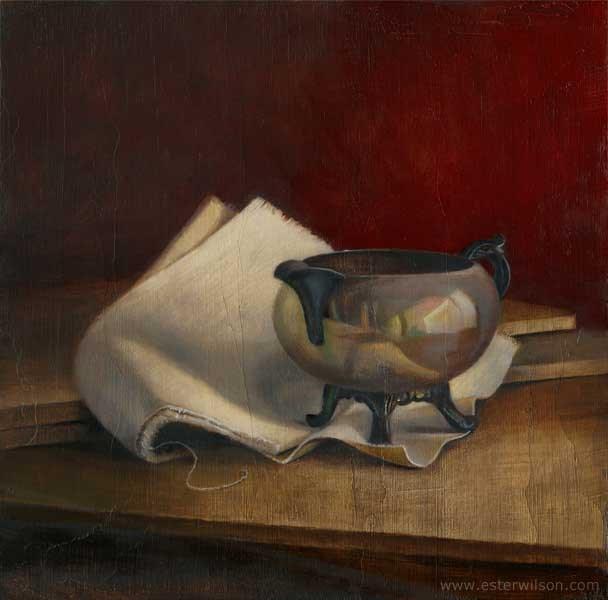 """""""Silver Dish"""" original fine art by Ester Wilson"""