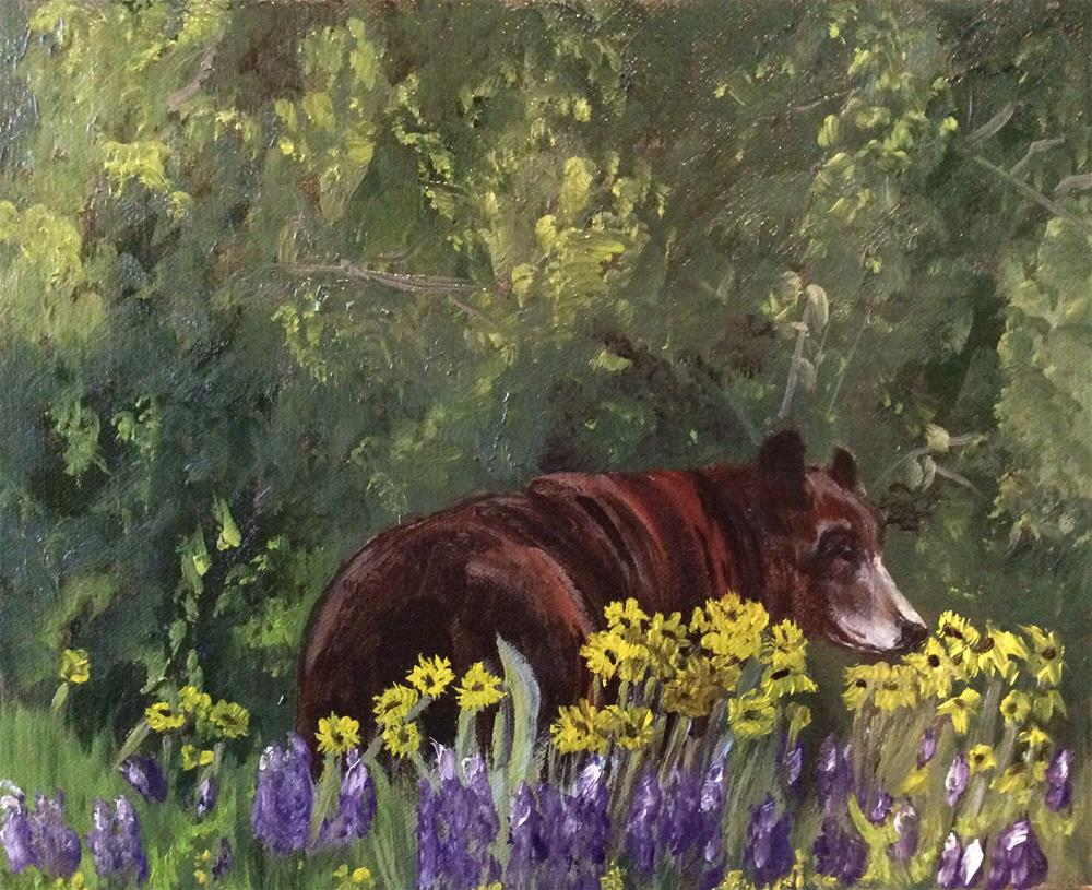"""Taking Time to Smell the Flowers"" original fine art by Charlotte Lough"
