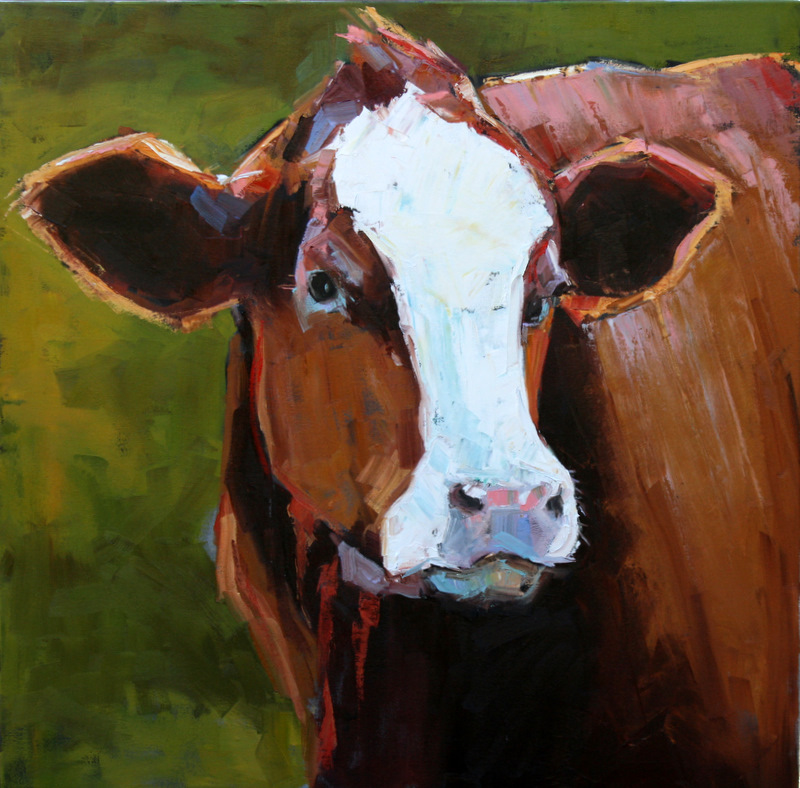 """enormous handsome heifer"" original fine art by Carol Carmichael"