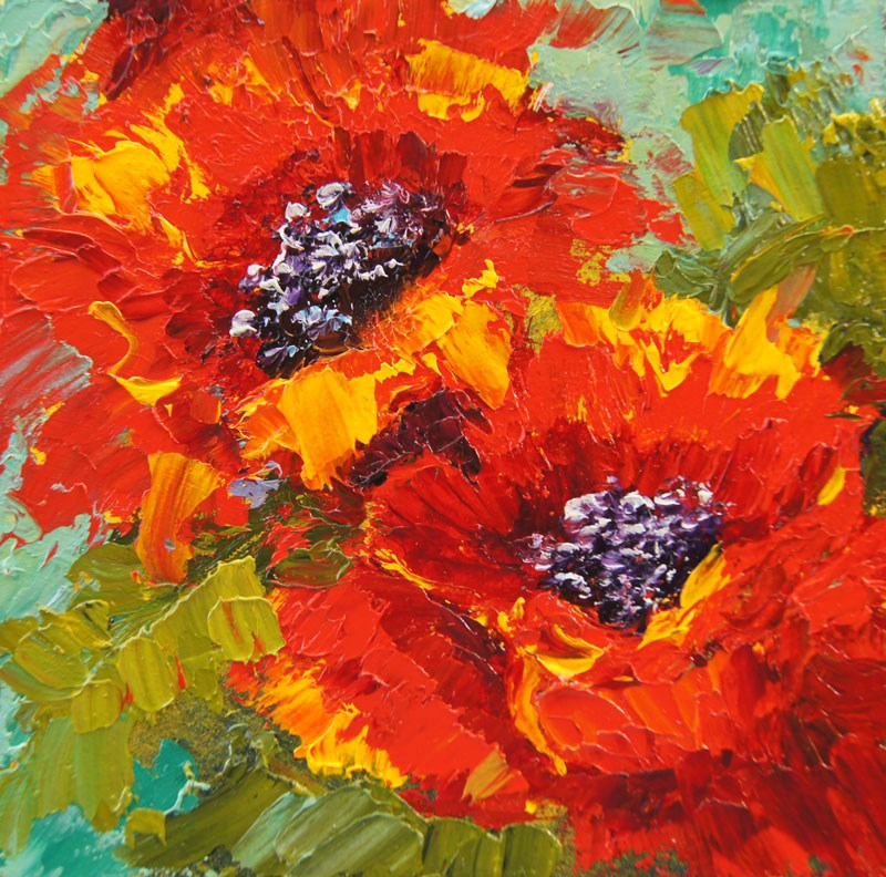 """Glorious Poppies Miniature Treasure painting"" original fine art by Marion Hedger"