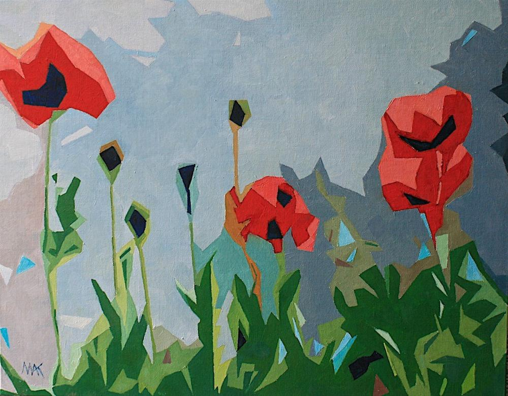 """Abstract Poppies"" original fine art by Mary Anne Cary"
