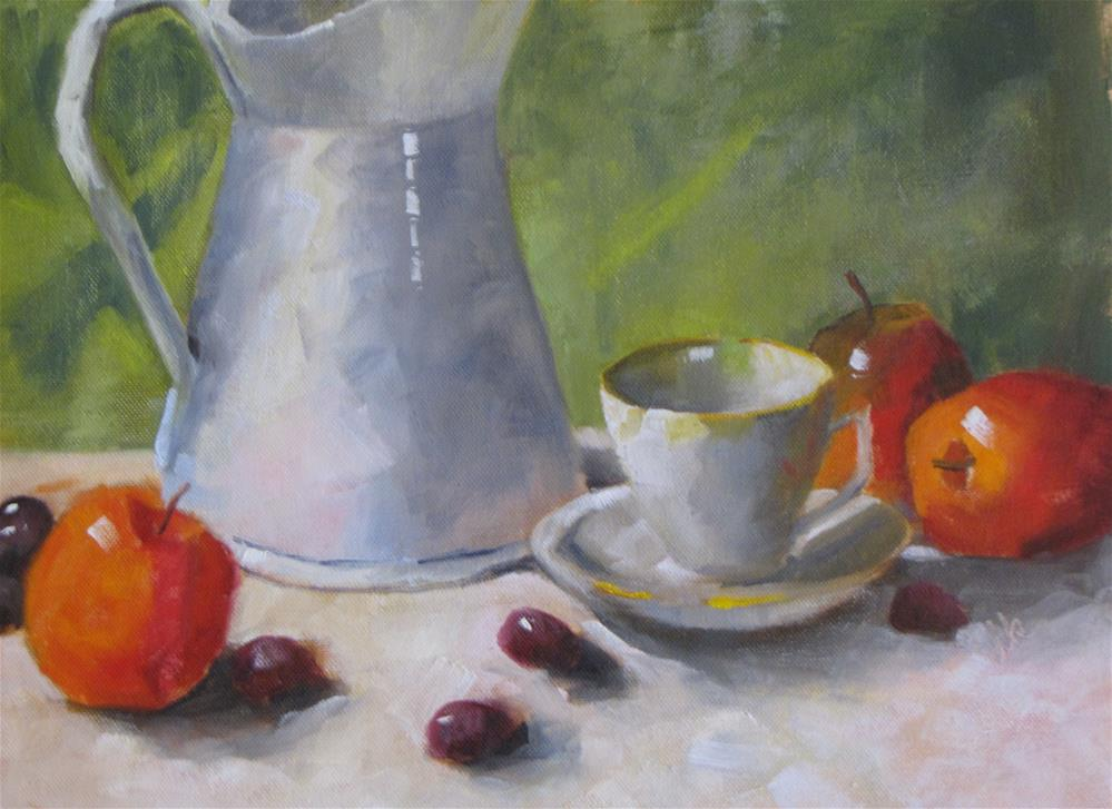 """Cup and Pitcher with Fruit"" original fine art by Louise Kubista"