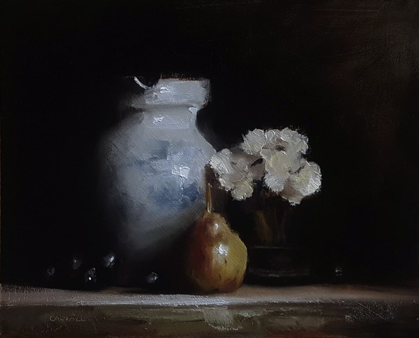 """Vase with Flowers and Pear"" original fine art by Neil Carroll"